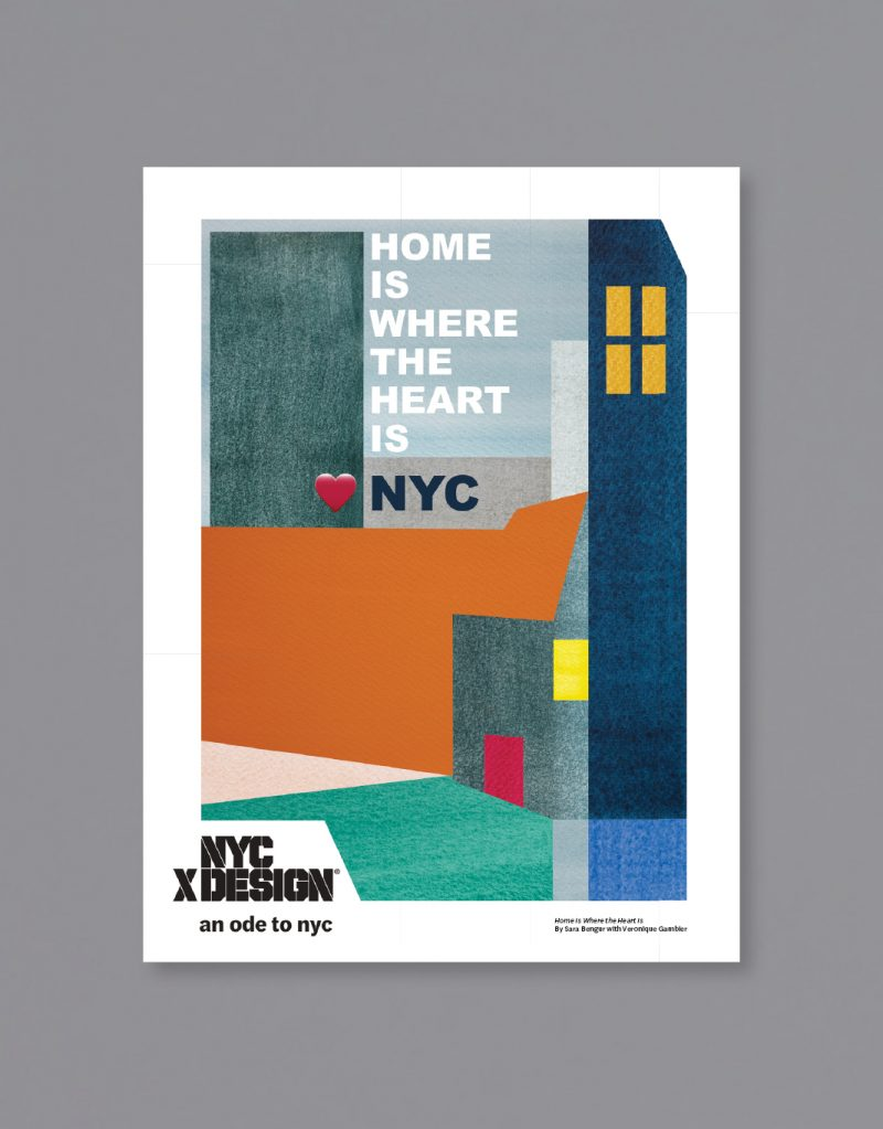 A poster showing The night of NYC in geometric shapes. The text is saying