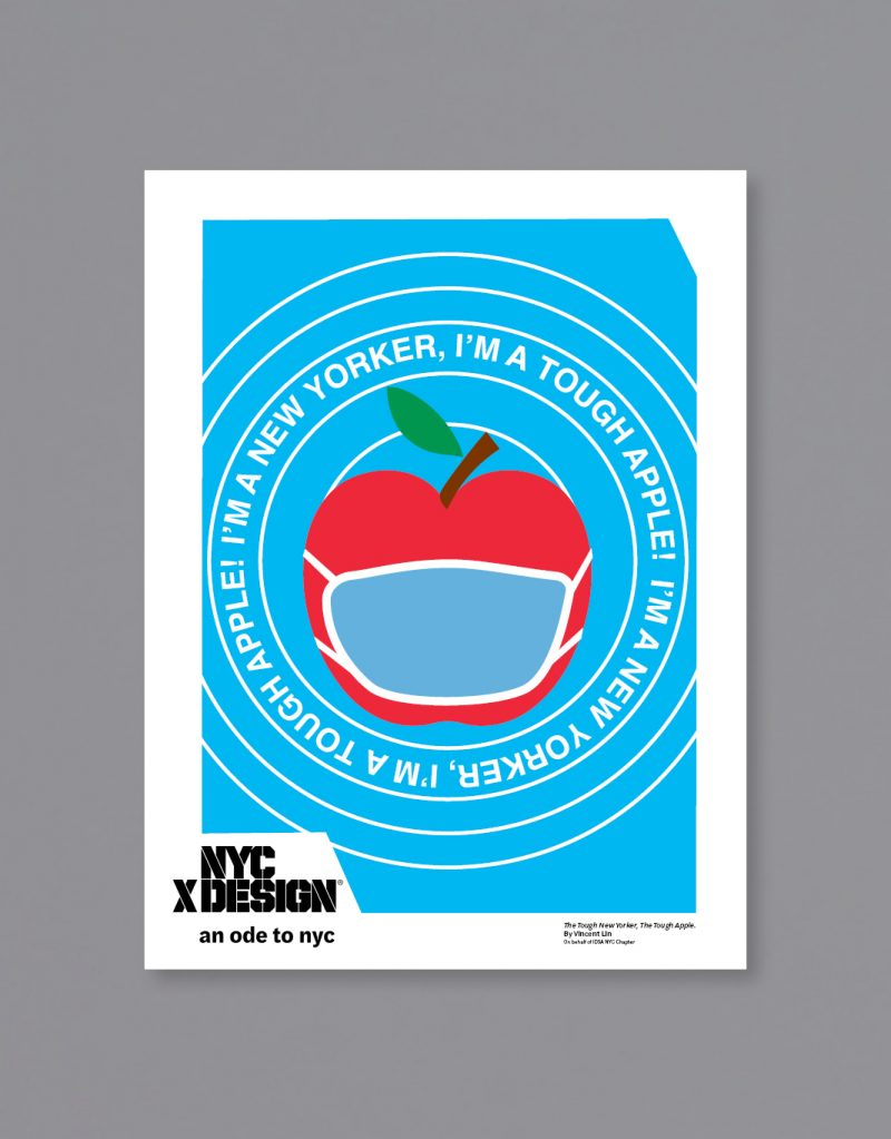 A poster showing an apple wearing a face mask. The texts around the apple say