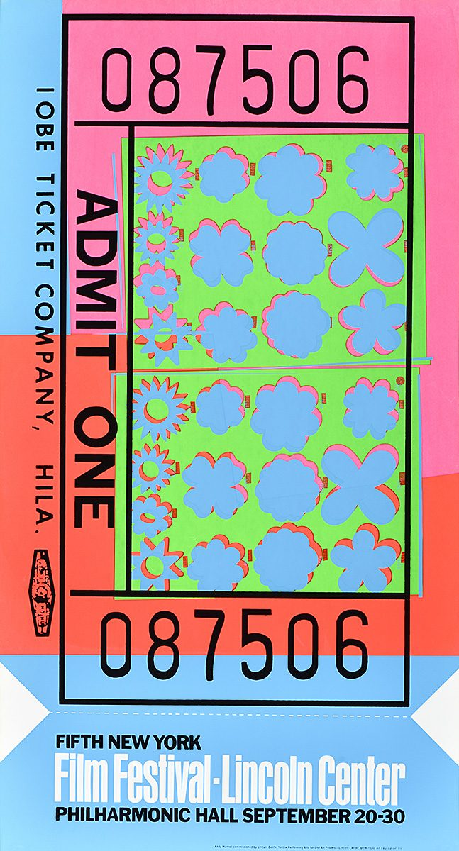 silkscreen poster of a neon multicolored ticket stub for a movie