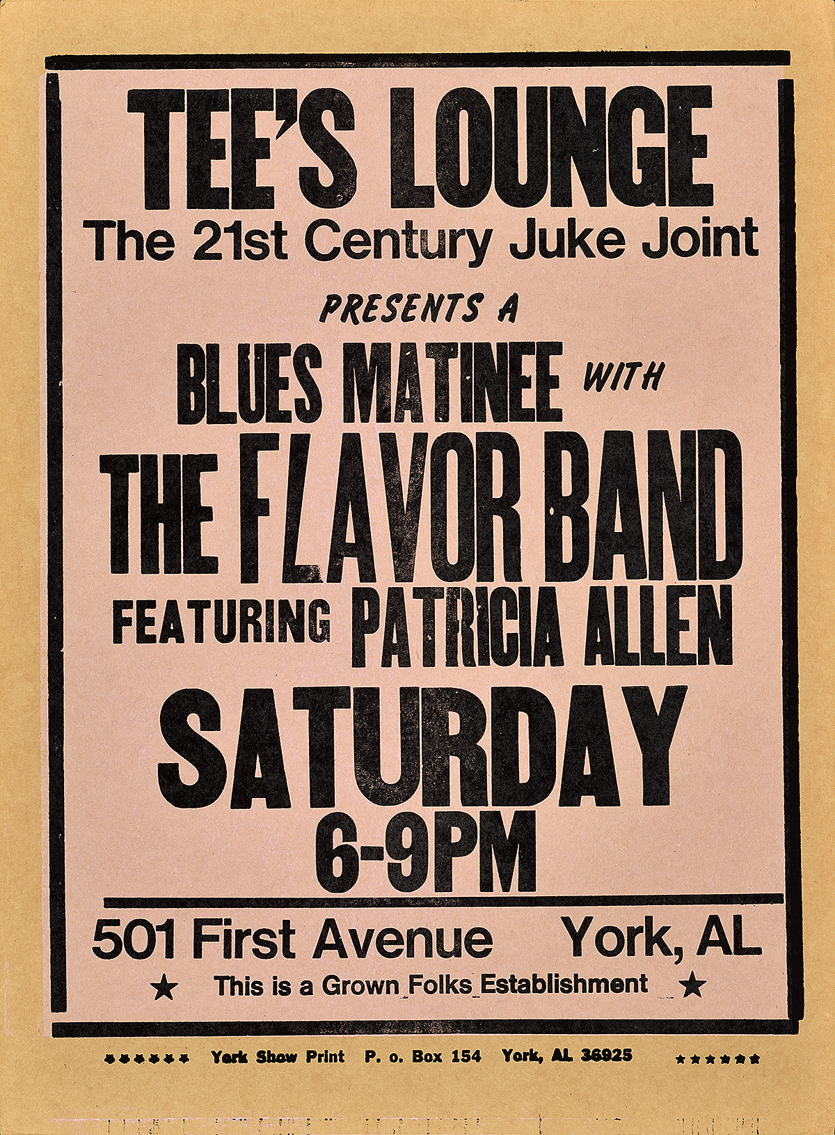 letterpress poster with a pink background. black text advertises tee's lounge and the evening's entertainment listing