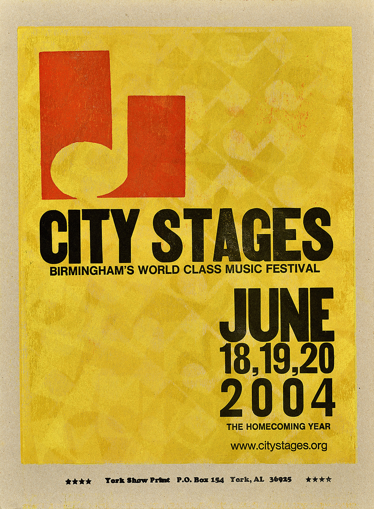 a letterpress poster with a yellow background. In the upper left is the silhouette of a music note surrounded by red. the central black text reads City Stages