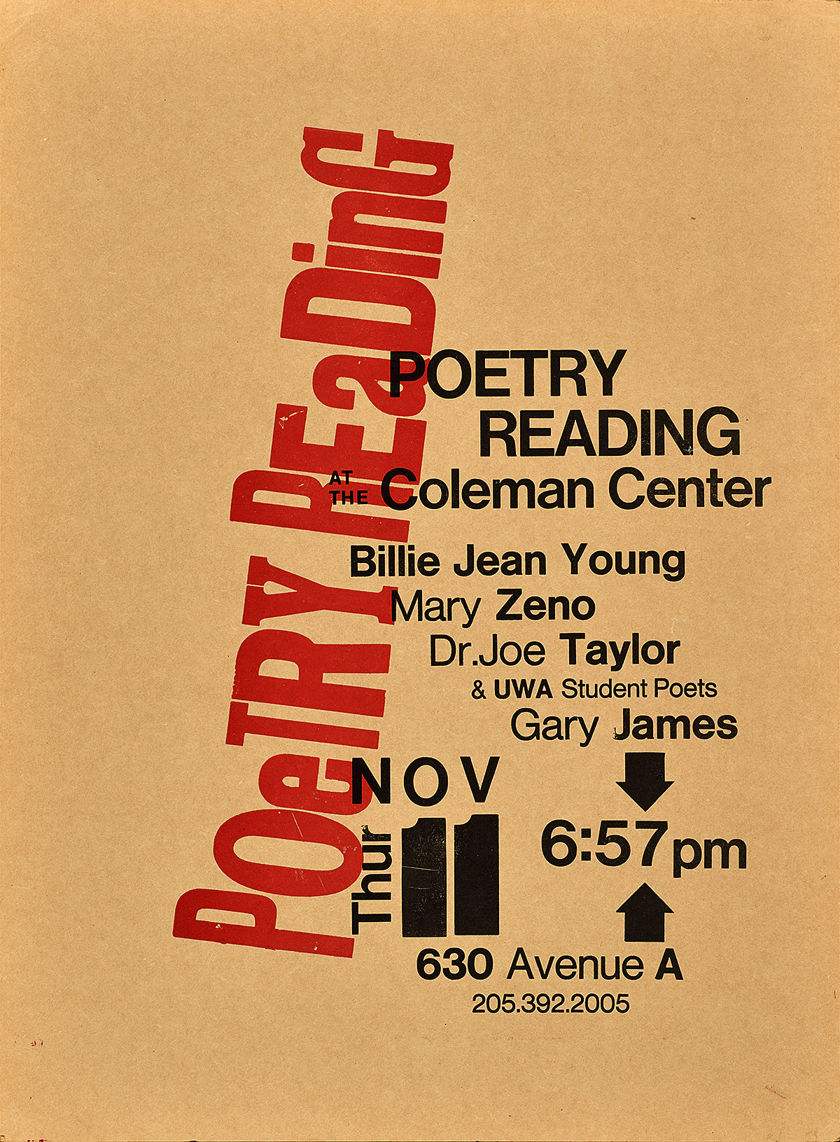 letterpress poster with a raw paper background. red text running diagonally reads Poetry Reading. Black text running horizontally explains the event details.