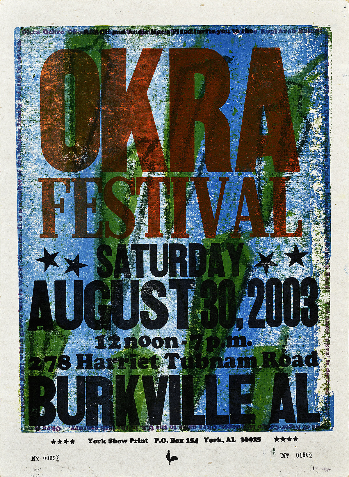 letterpress poster on a primarily blue and dark green background announcing the okra festival in black letters