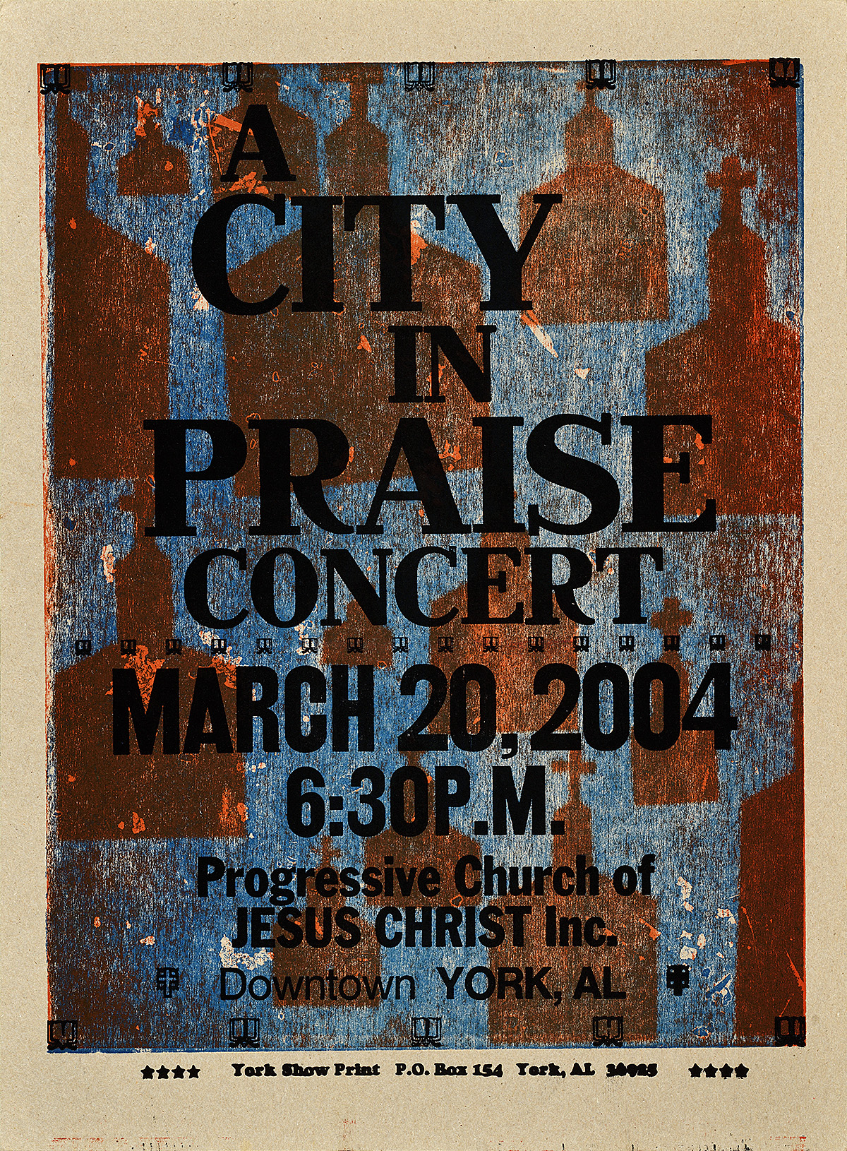 letterpress poster on a dark blue background with silhouettes of a church polka-dotting the page. black text announces City in Praise