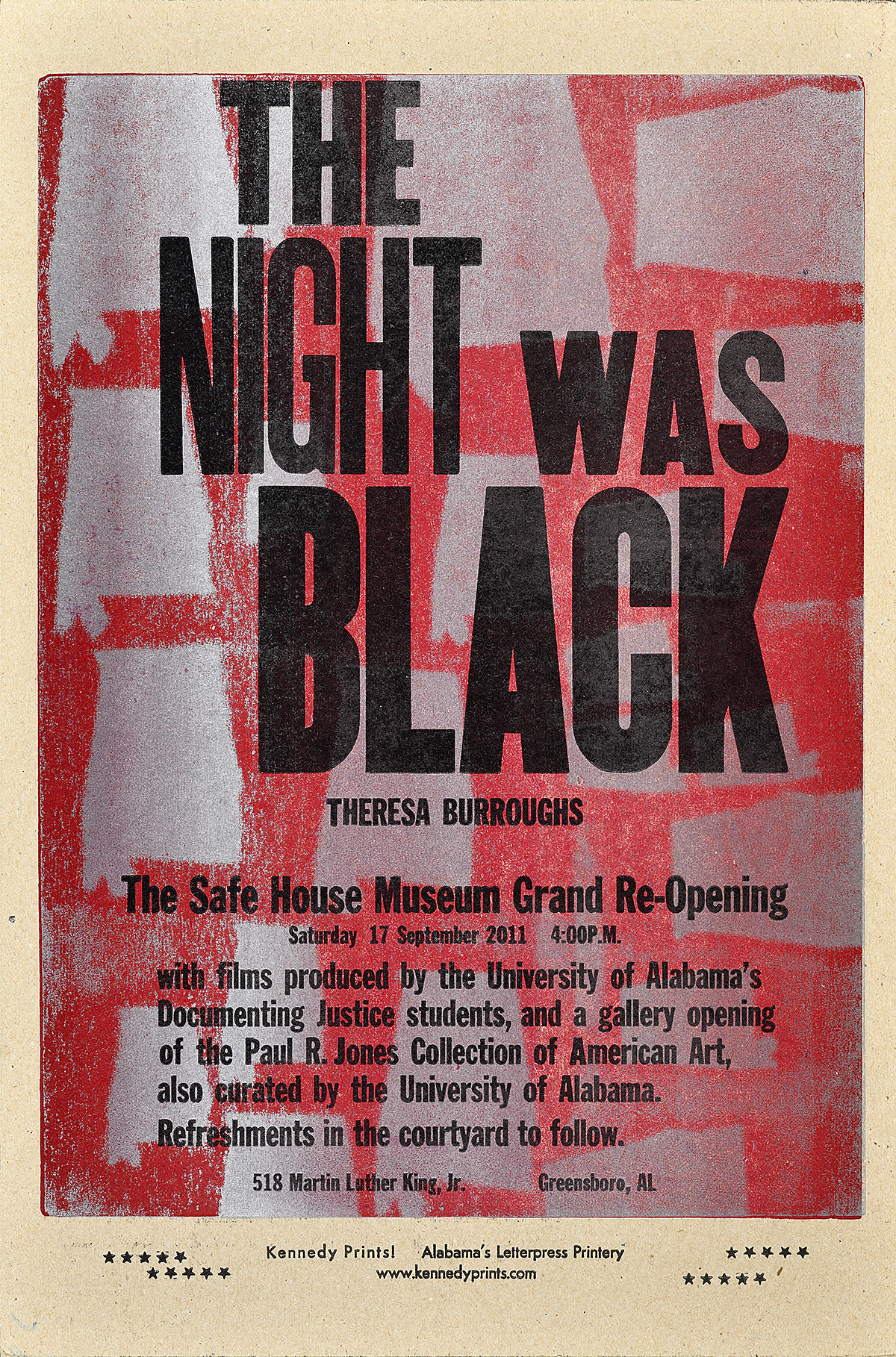 letterpress poster with a dark magenta background. silver silhouettes of the state of Alabama dot the background. On top, black text reads the night was black