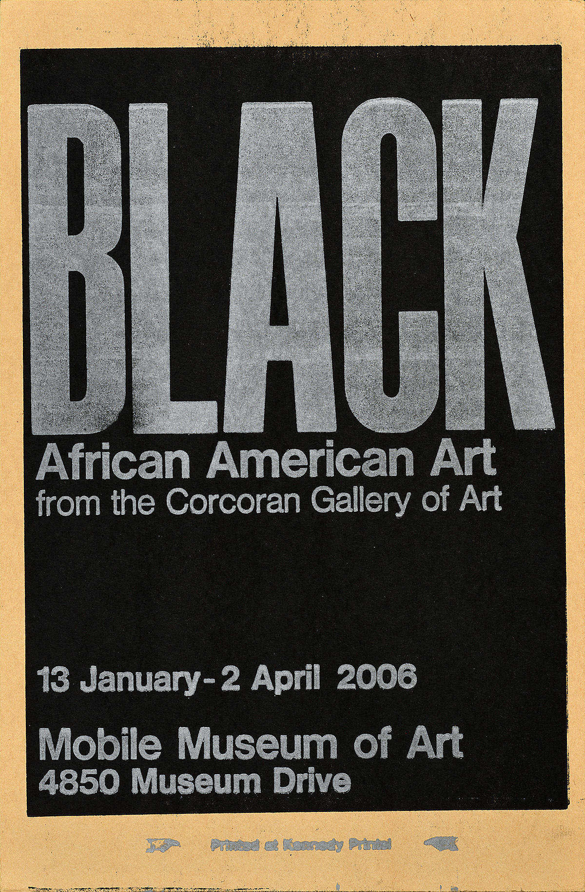 letterpress poster with a dark black background. In silver, a quote is printed on top saying Black African American Art .