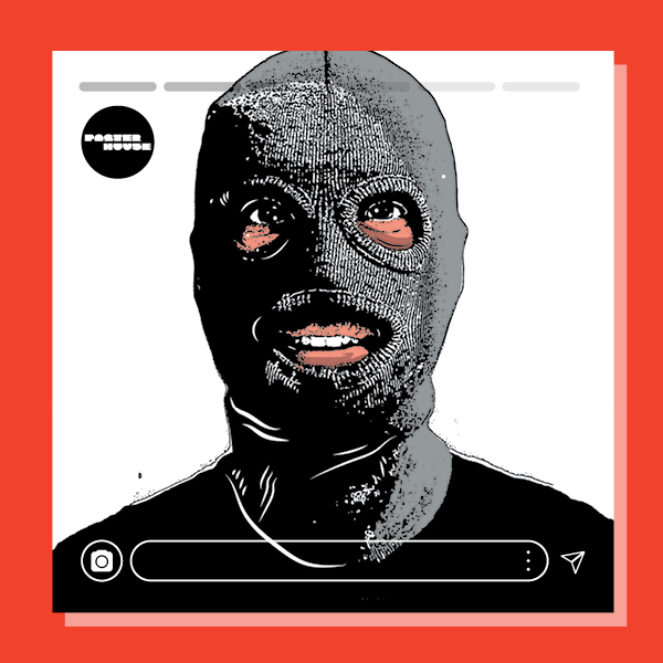 an illustration of a person's head, wearing a black ski mask on a white background with a red border & instagram-style accents.