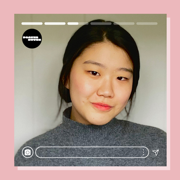 a headshot of Yeji Kim with Instagram elements and a light pink border.