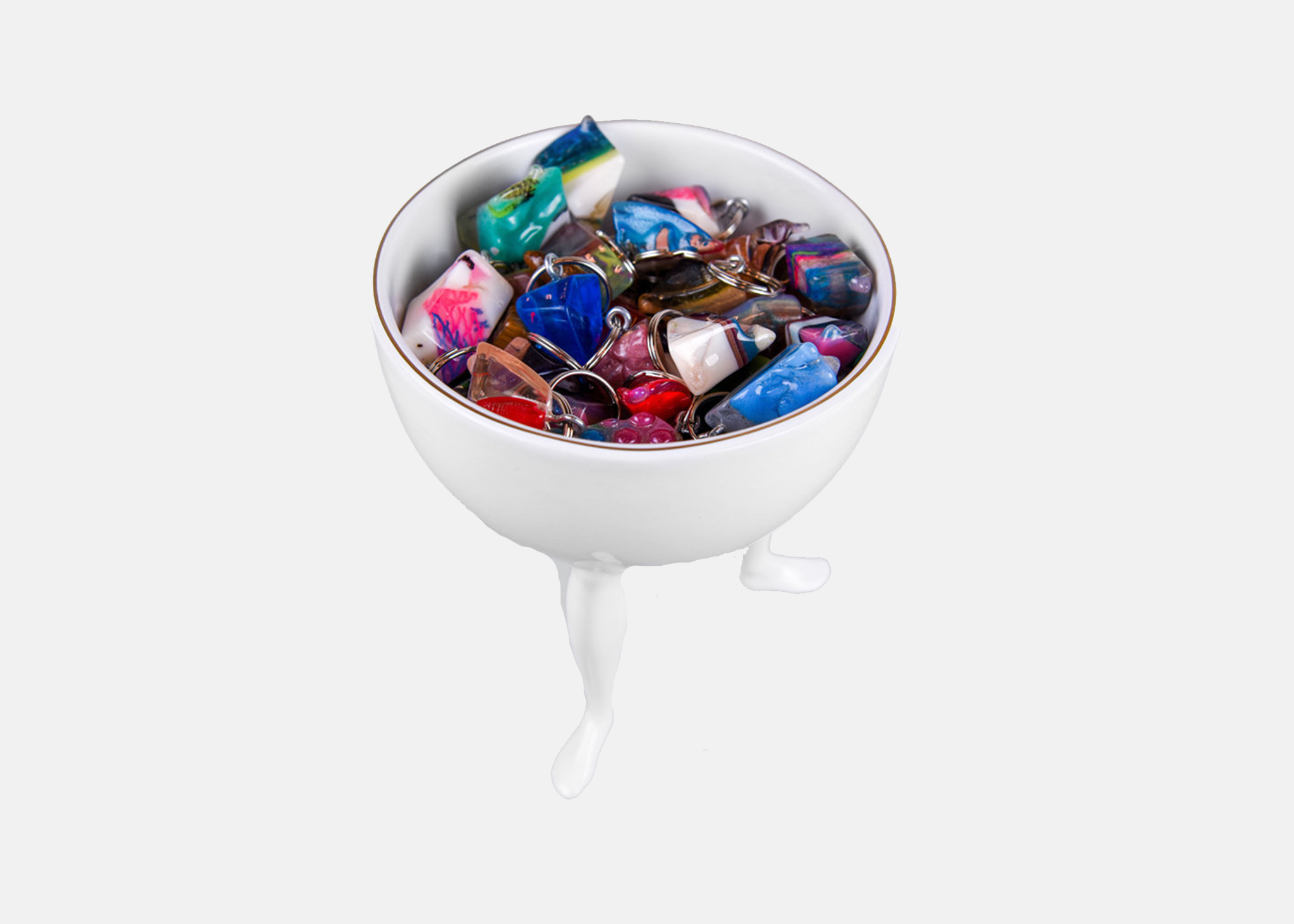 an image of the nugget keychains in a bowl