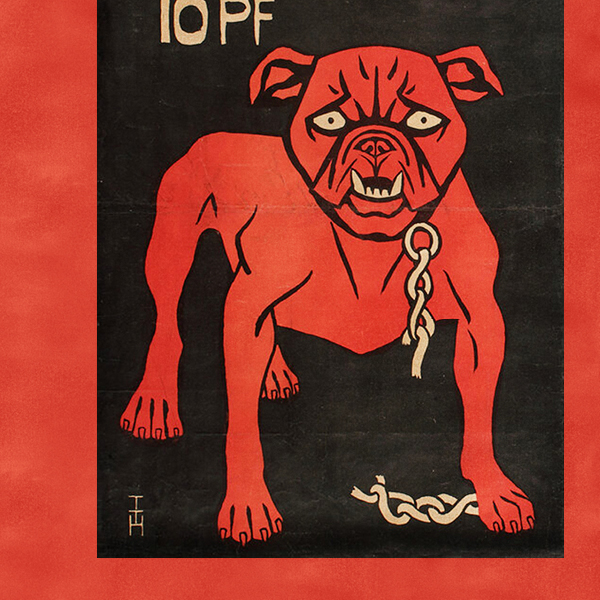 an illustrated poster on a red background of a red dog under text