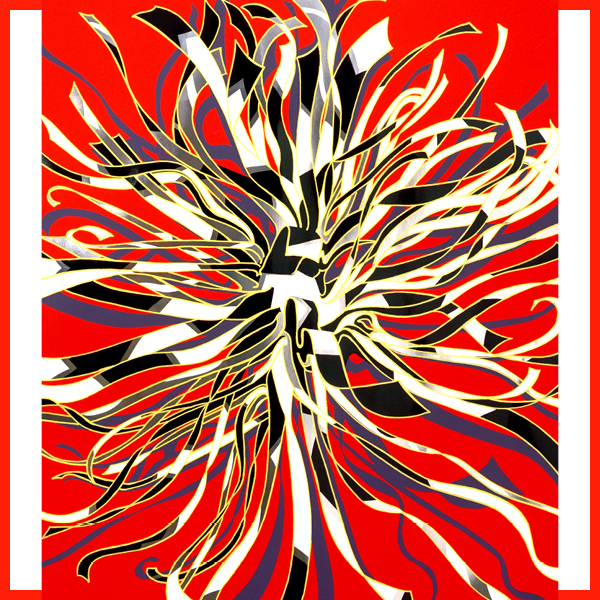 An illustrative poster featuring white and black ribbons with yellow outlines intertwined on a red backgrund.