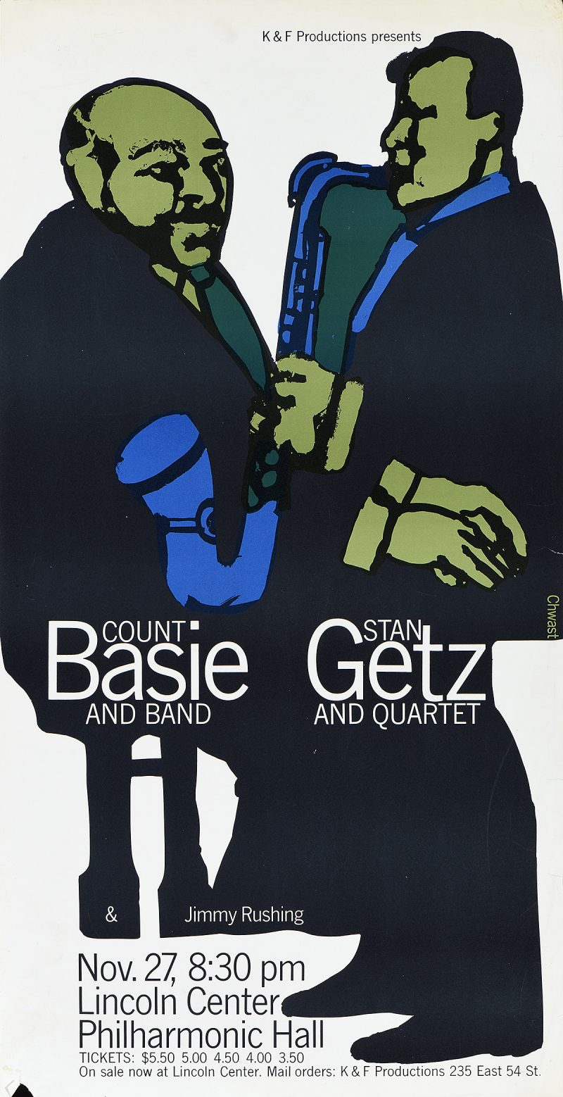 photo offset poster of two green jazz musicians facing each other wearing black suits
