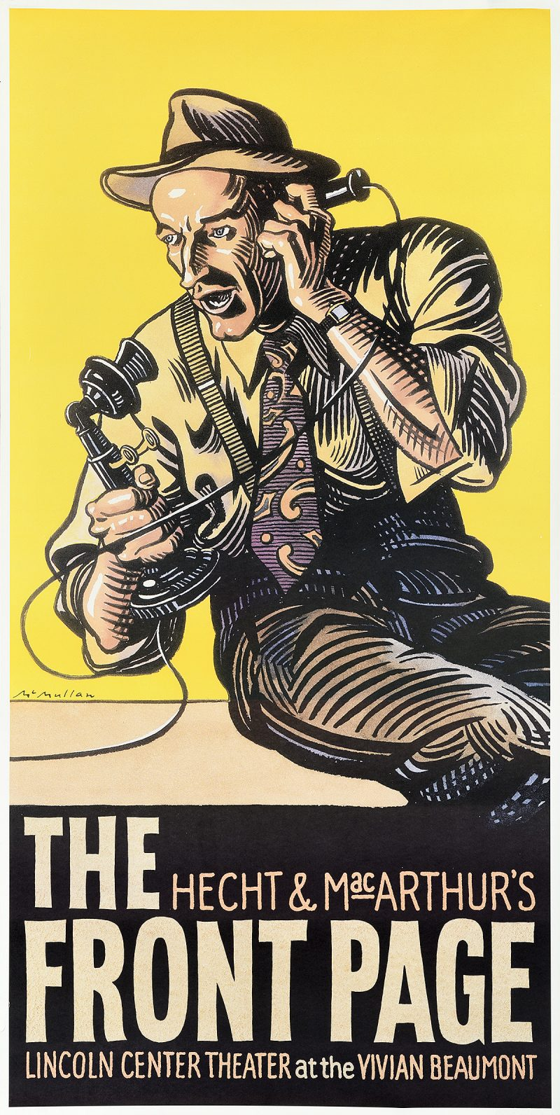 photo offset poster of a man in 1940s attire screaming into a telephone against a yellow background