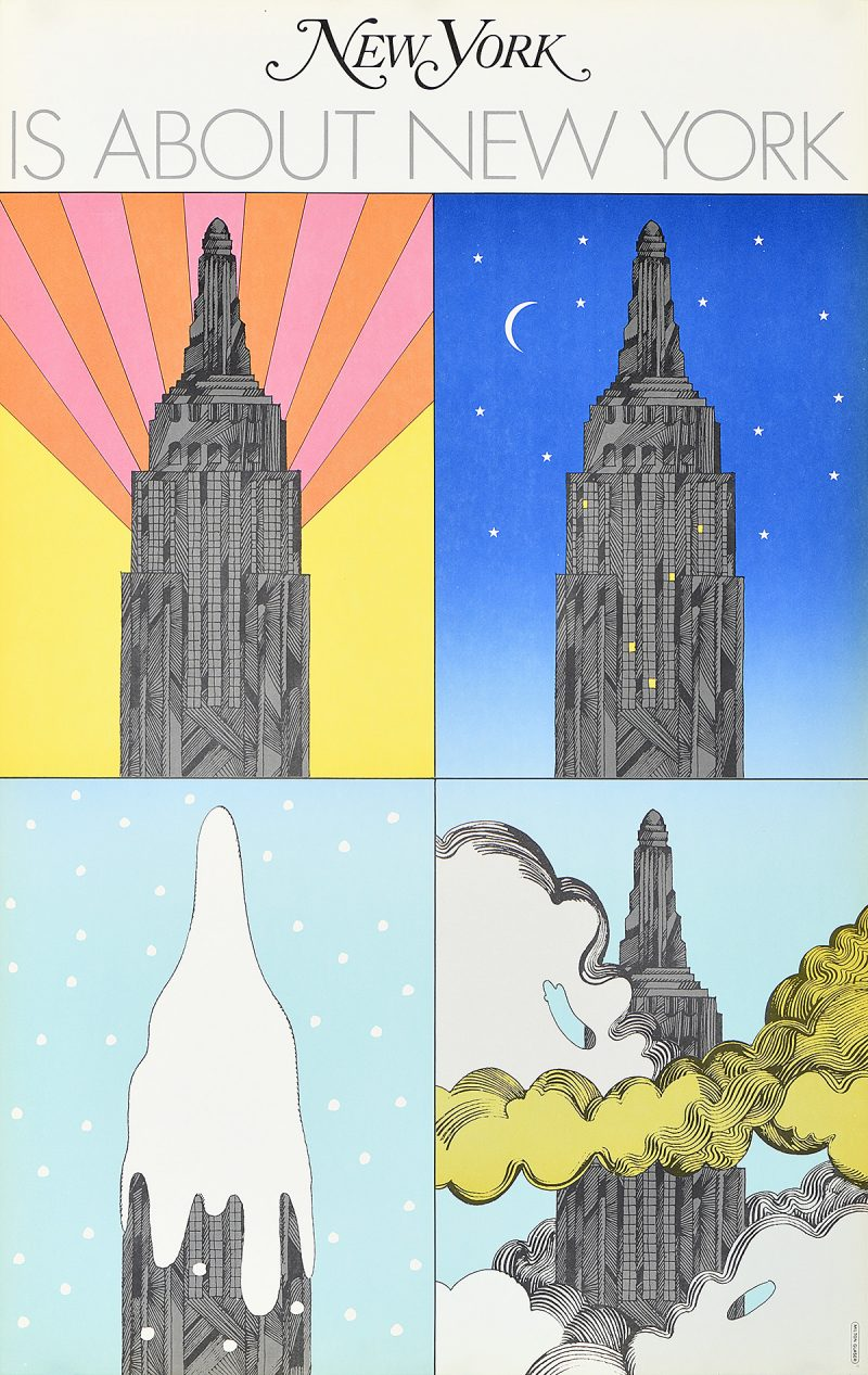 photo offset illustrational poster for 4 views of the empire state building in the four seasons