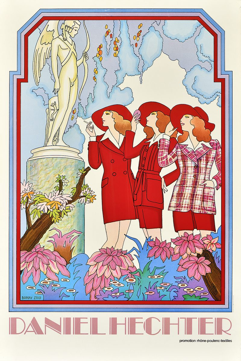 photo offset poster of three illustrational women in red suits inside a french garden