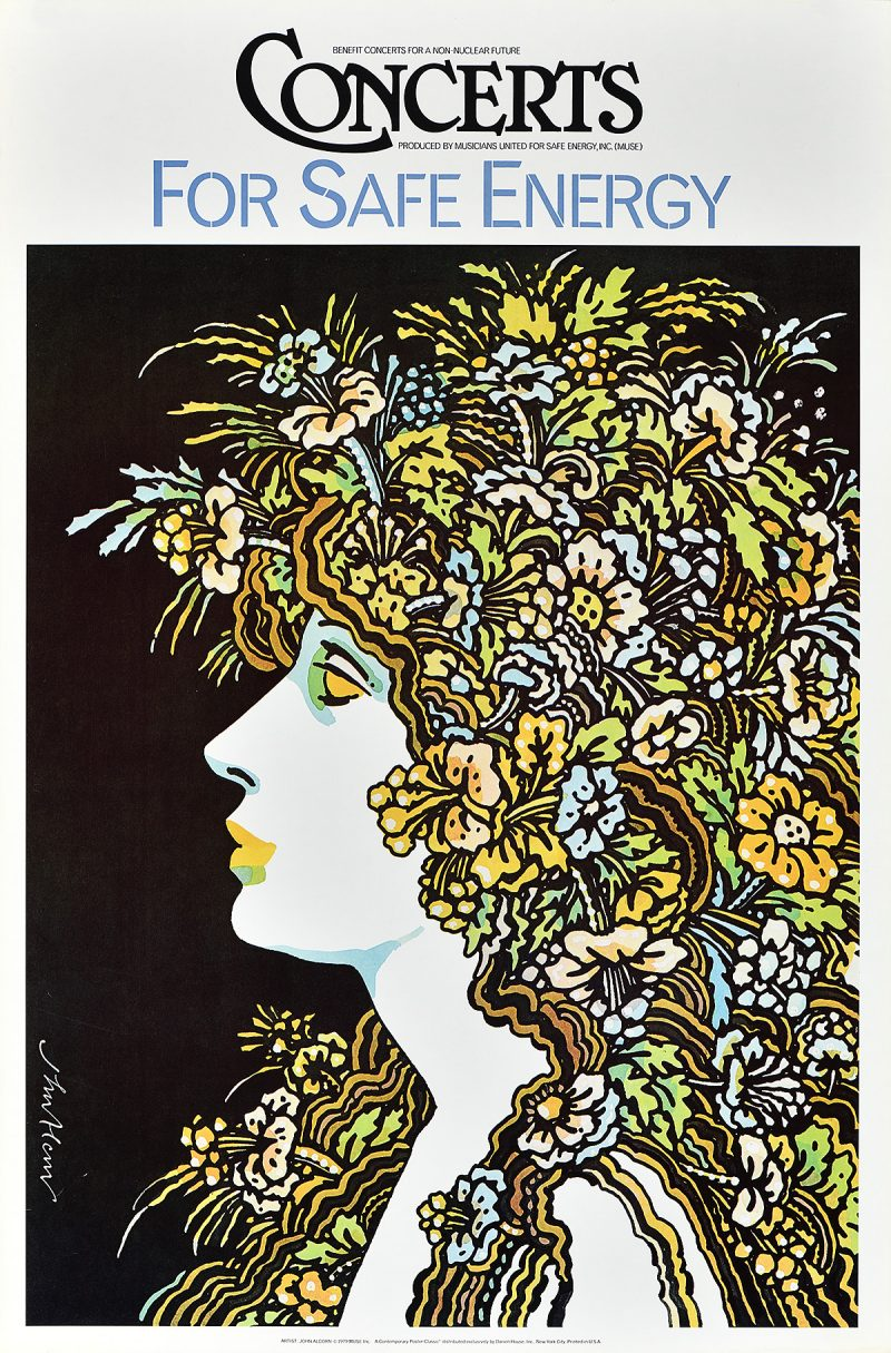 photo offset illustrational poster of a white female face in profile with wild colorful hair made of plants