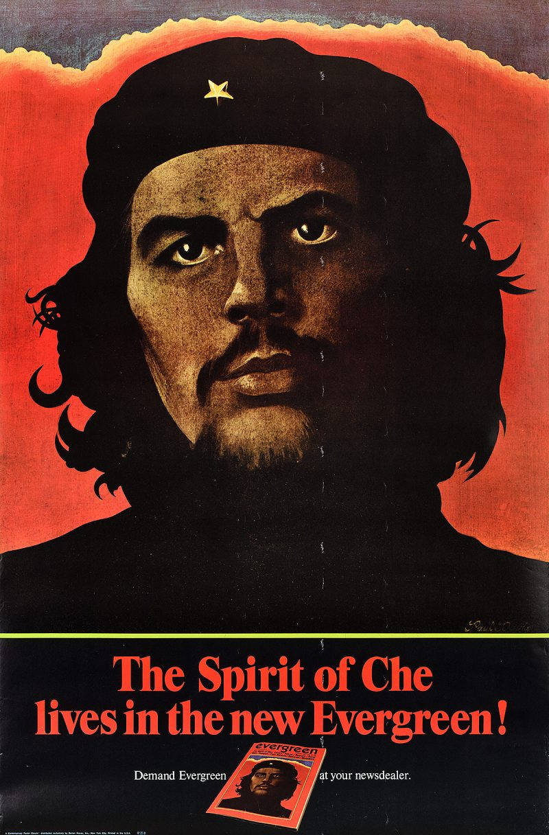 illustrational poster of Che Guevara looking toward a sunset
