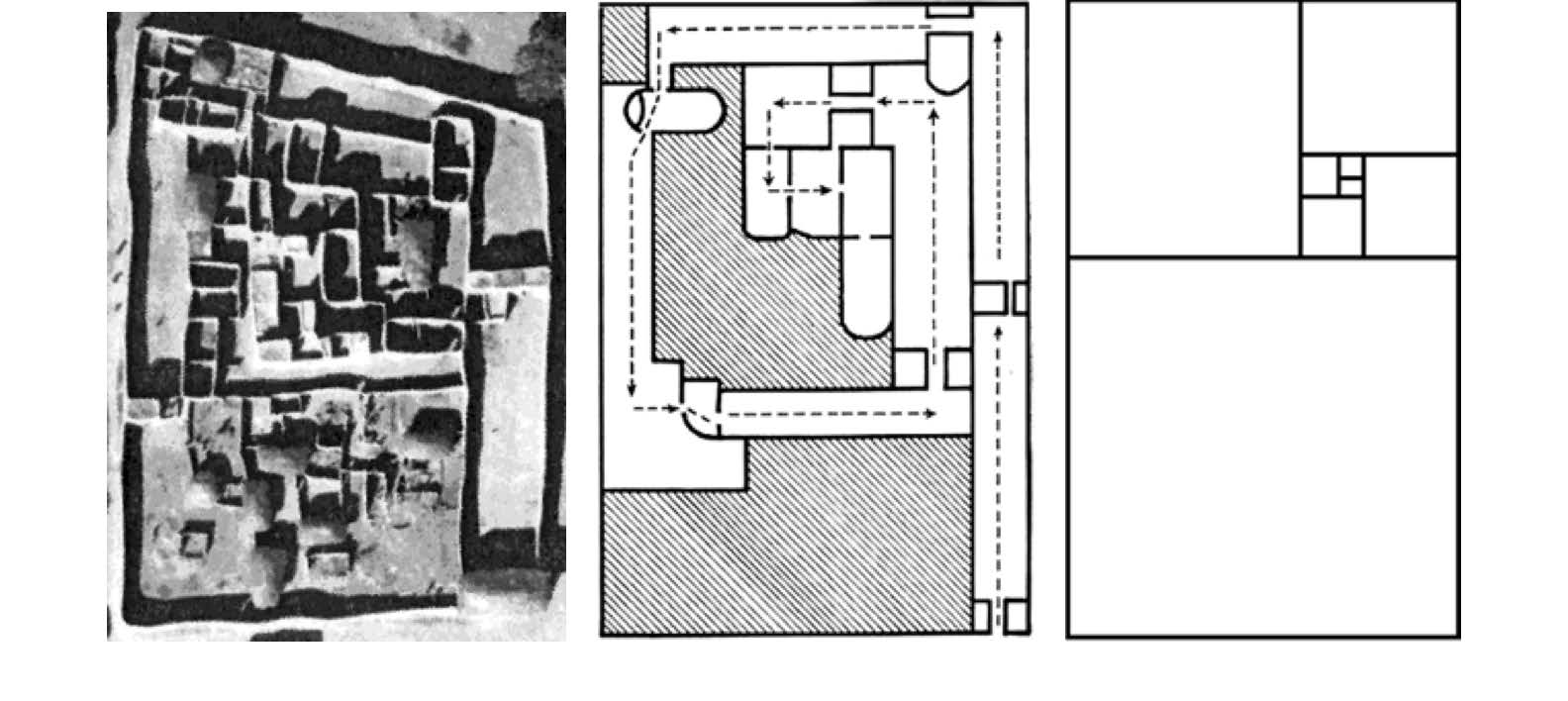 Series of images showing the aerial photo of palace of Chief in Logone-Birni, path through the palace, and visualization of golden rectangle spiral