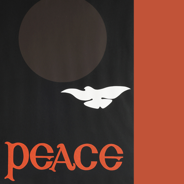 a cropped image of a white dove flying towards a light-grey circle on a dark black background, with 'peace' in orange lettering on the bottom