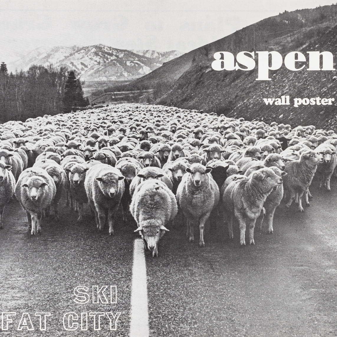 a black and white photograph of hundreds of sheep in the middle of a paved roadway. the text reads