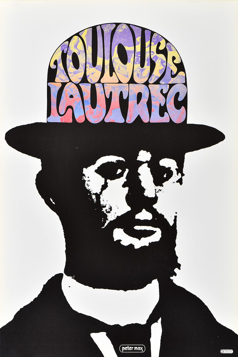 photo offset poster of a black and white photo of Toulouse Lautrec with his name in rainbow letters inside a bowler hat