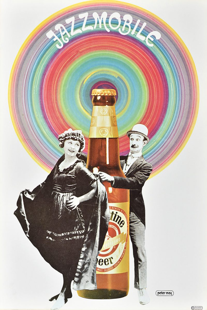 photo offset poster of a black and white vintage photo of a couple dancing around a giant beer bottle. Above is a huge circle in rainbow tones