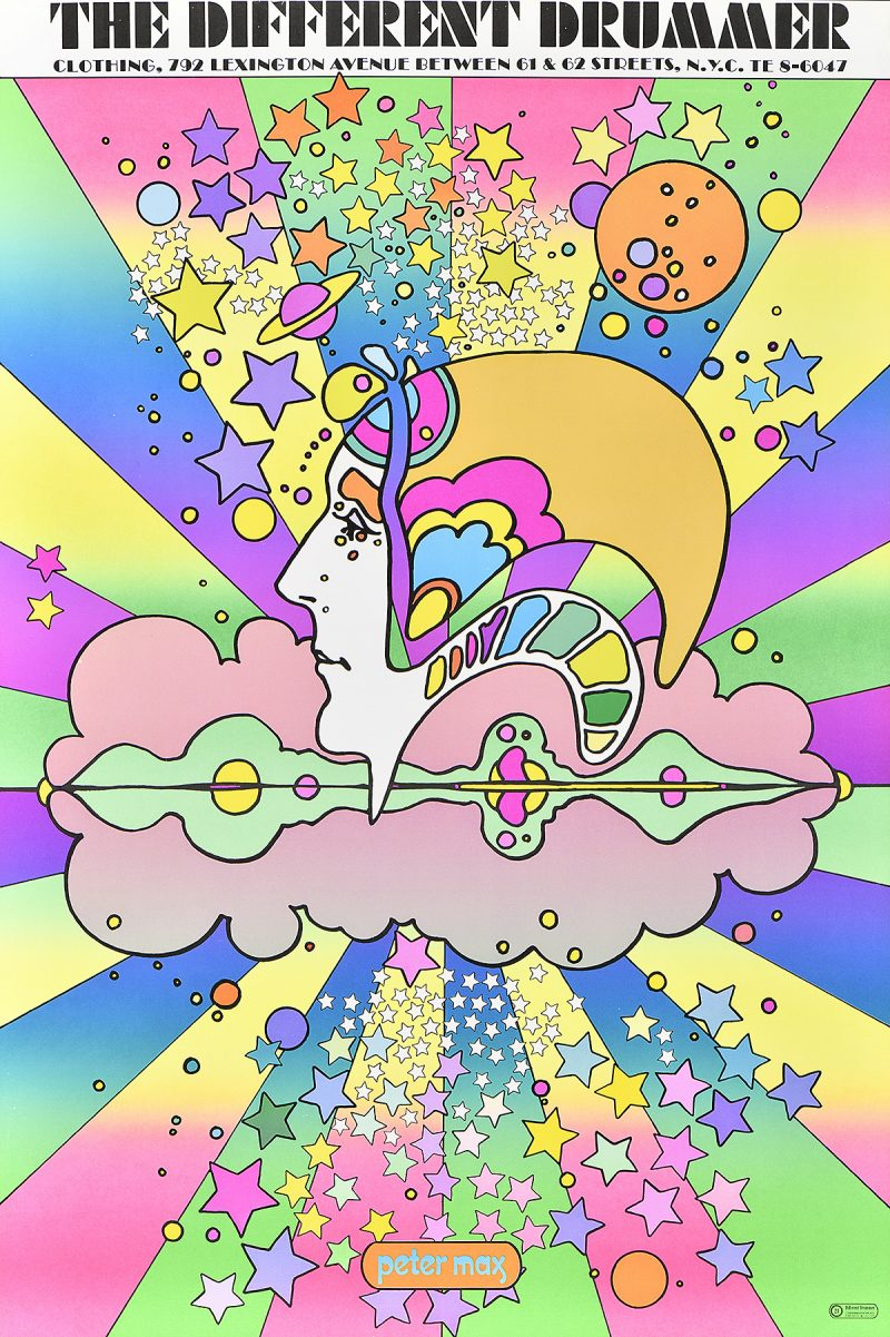 photo offset illustrational poster of a head in the center of a rainbow starburst with cosmic imagery surrounding it