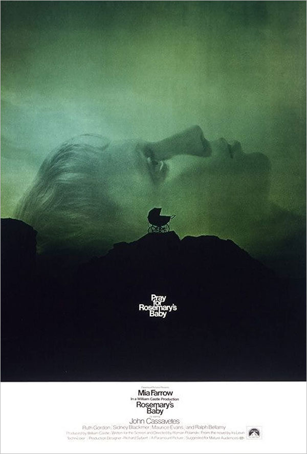 photographic poster of a woman in profile laying on her back. in front of her head is a baby carriage on a cliff