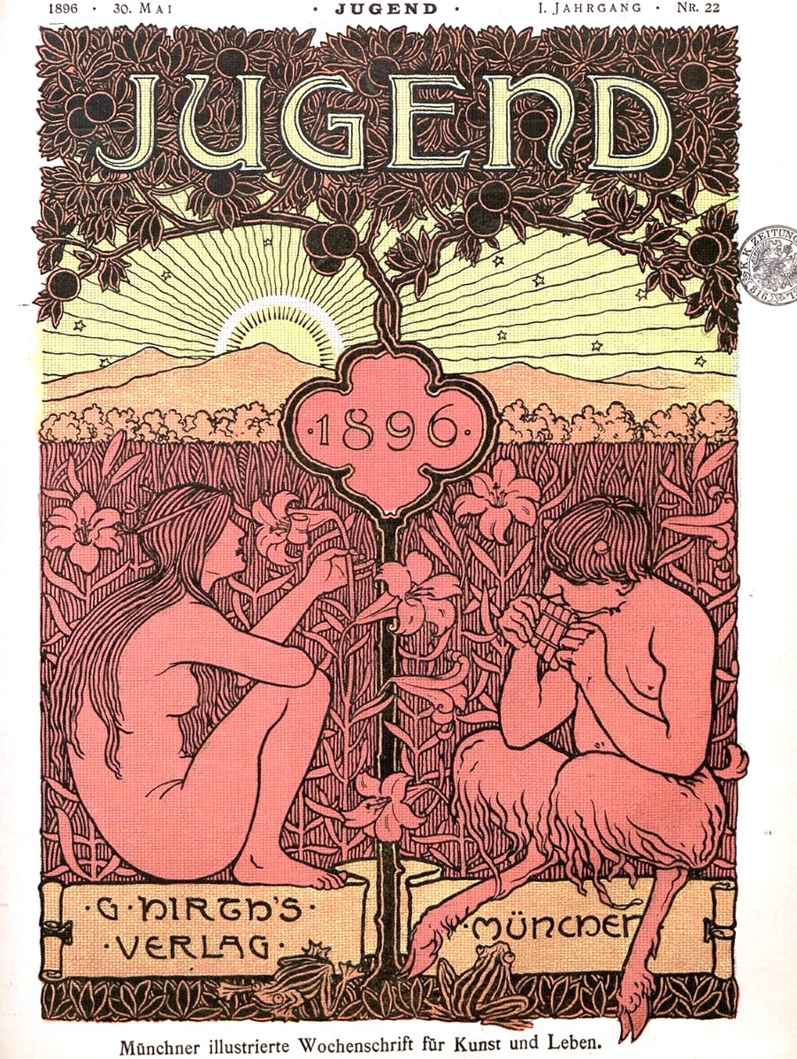 lithographic magazine cover of a nude woman and a satre in a field