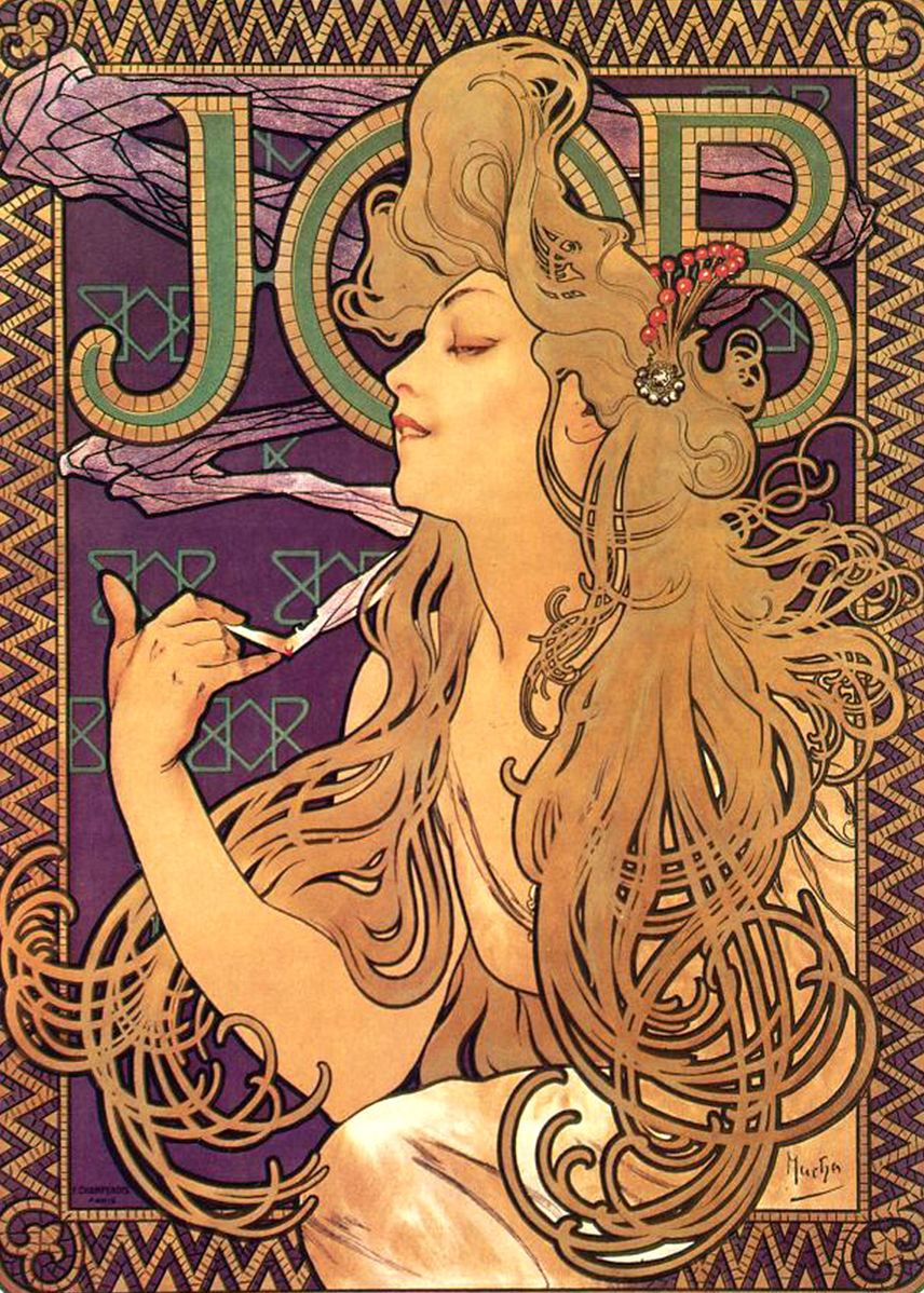 lithographic poster of a woman with wild golden hair smoking a cigarette against a purple background