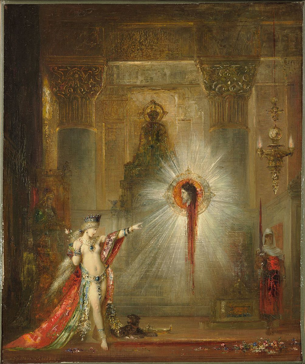 painting of a woman in an elaborate gown pointing at a disembodied head