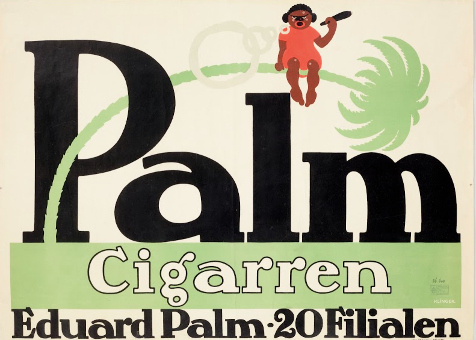 lithographic poster of a black figure sitting atop a bent palm tree smoking a cigar