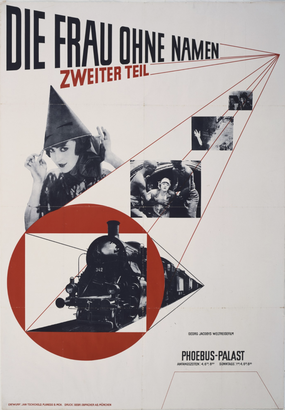 photomontage poster of gradually larger photosgraphs of movie scenes and a train. In the upper left is a woman in a witches hat.